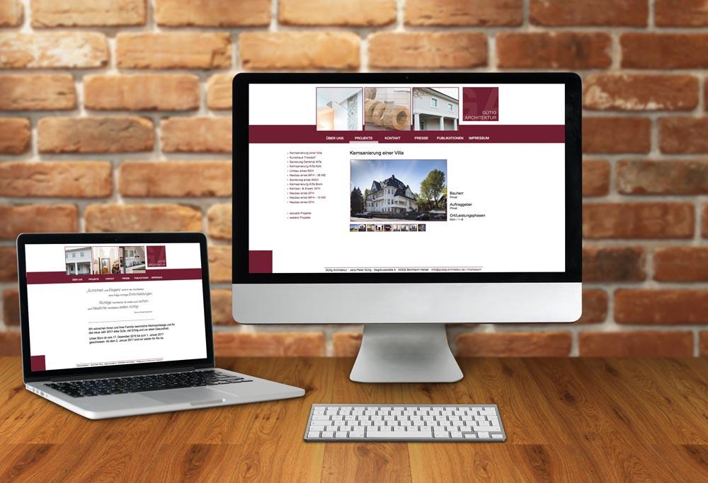 Internetseite Gütig Architektur